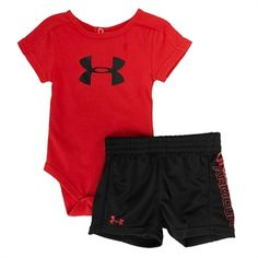 Under Armour® HeatGear® Infant Boy Logo Short set #VonMaur #UnderArmour.