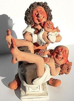 Pregnancy Birth Figurine Midwife Obstetrics Happy Mom and Newborn Baby Maternity