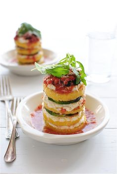 Vegetarian polenta lasagna stacks-wow this is an amazing idea! Perfect for my gluten-free friends and family!