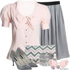 """""""Pink n' Grey on a Bright Spring Day"""" by stylesbyjoey on Polyvore"""