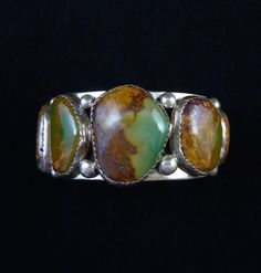 Big Daddy 125 gram Vintage Navajo Sterling Silver Cuff w 5 HUGE Gem Grade Royston Turquoise Stones! Large and In Charge!