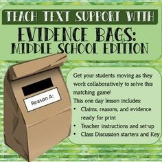 Get students up and engaged in friendly controversy as they match evidence with the reason it best supports. This lesson uses research about the benefits and drawbacks of school uniforms to have students work backwards to figure out how evidence connects Middle School Literacy, Middle School Reading, Middle School English, Middle School Quotes, Library Lessons, Writing Lessons, Teaching Writing, Teaching Ideas, Science Lessons