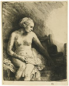 Rembrandt Harmensz. van Rijn  1606 - 1669  WOMAN AT THE BATH WITH A HAT BESIDE HER (B., HOLL. 199; H. 297; BB. 58-C)  Estimate: 60,000 - 90,000 GBP  Etching with drypoint, 1658, an attractive subject of great rarity, a fine impression of the second (final) state, printing with burr and plate tone, on laminated japan paper  Plate: 158 by 129mm; 6¼ by 5 1/8 in  Sheet: 168 by 134mm; 6 5/8 by 5¼in