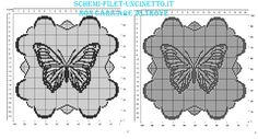 Centrino filet con farfalla e bordo nuvole schema da scaricare gratis in 100 quadretti