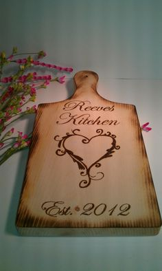Rustic Cutting Board Rustic Wedding Gift Woodburned and Personalized via Etsy