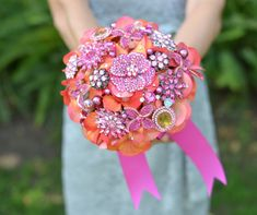 Tangerine & Fuchsia pink orange brooch bouquet for bridesmaids with Noaki & the Frosted Petticoat