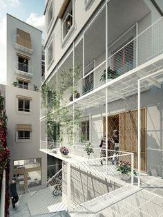 Wohngebäude in Poblenou bestimmte Studie Beta-Architektur Architecture Résidentielle, Social Housing Architecture, Architecture Diagrams, Architecture Portfolio, Co Housing, Casa Patio, Facade Design, Urban Design, House