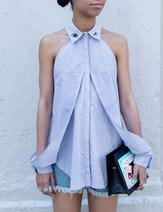 Fuzzy Eyes Embroidered Collar Women Shirts 2015 Summer Fly Away Long Women Blouses Cut Out Cute Tops of Women Blue Young Fashion, Diy Fashion, Ideias Fashion, Fashion Design, Womens Fashion, Estilo Rock, High Fashion Dresses, Collar Designs, Mode Inspiration