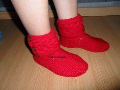 .: Pantufas de tricot em lã