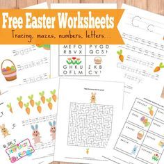 Free Easter Worksheets, Tracing, Mazes, Numbers, Letters and more.  Printables