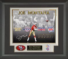 Joe Montana signed 16x20 Photo Collage matted and Framed | Signed Photos, Jersey, Football, Football Memorabilia