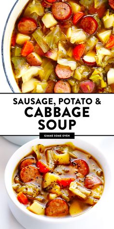Microwave Recipes - Cooking Pasta is Not a Big Deal This Cabbage, Sausage And Potato Soup Recipe Is Quick And Easy To Make, And So Delicious And Comforting. It's Also Easy To Make In The Instant Pot Or Crock-Pot, If You Prefer. Cabbage Sausage Potato, Sausage Potatoes, Sausage Soup, Cooking Recipes, Healthy Recipes, Beef Recipes, Easy Recipes, Chicken Recipes, Cooking Icon