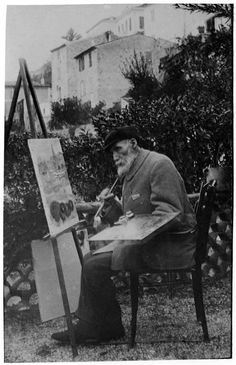 Auguste Renoir painting before the Post Office at Cagnes, 1912-1914