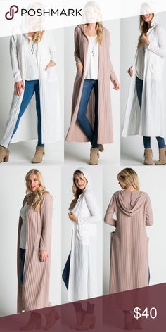 Ivory Hooded Duster Length Cardigan IVORY COLOR ONLY. Wide ribbed fabric. Hip level front pockets. Attached hood. Open front. Lightweight fabric. Brand new boutique retail w/o tag. No trades, no off App transactions. 📦📫SHIPS TUESDAY📦📫      ❗️PRICE IS FIRM UNLESS BUNDLED❗️ Sweaters Cardigans