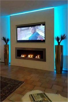 Kamin Wohnzimmer Modern Bildergebnis für tv wand trockenbau How Mothers Can And Should Really Enjoy Living Room Tv, Living Room With Fireplace, Living Room Lighting, Tv On Wall Ideas Living Room, Bedroom Lighting, Fireplace Tv Wall, Fireplace Design, Fireplace Ideas, Tv Wanddekor
