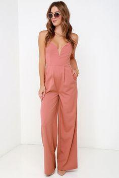 Chic Dusty Rose Jumpsuit - Strapless Jumpsuit - Sweetheart Jumpsuit - $64.00