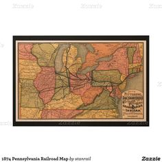 1874 Pennsylvania Railroad Map Wood Wall Art -  $289.00 - #stanrail - Each print is produced with eco-friendly ink on high quality birch plywood. The beautiful wood grains shine through with the omission of white ink during the printing process creating a statement piece perfect for any space. WoodSnap, the original print on wood company .   @stanrails_store