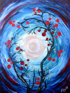 Oil Painting Blue Moon Blue Silver Original by ArtonlineGallery, $185.00