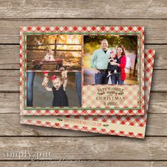 Have yourself a Merry Little Christmas Gingham Photo Card. Rustic Country Christmas Card. by SimplyPutPrintables