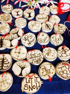 The most beautiful tree decorations made from 1 inch birch branches- approximately  1&1/2- 2 inches wide ornaments. Each has a simply exquisite wood burnt message and a tiny eye at the top of the ornament. A small red ribbon makes this a perfect addition to your tree ornament collection ! A very special donation!!!