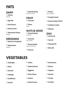 """List of """"good fats"""" and """"good vegetables"""" to buy at store - Starting the Chris Powell plan in January! Can't wait - hearing great results!"""