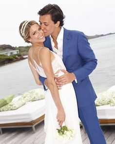 First, she walked down the aisle in the Valentino gown her mother wore as a bride, but for her second wedding reception in St. Barts, Helena Bordon looked Gala Gonzalez, Celebrity Wedding Photos, Celebrity Weddings, Vestido Calvin Klein, Valentino, Second Wedding Dresses, Bridal Tips, Minimal Wedding, Gray Weddings