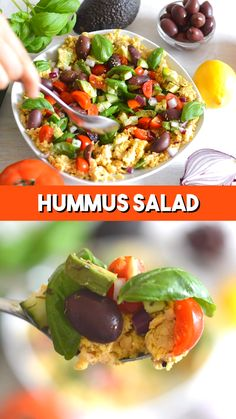 Hummus Salad with Mediterranean Vegetables - simple crushed chickpea salad with . - Hummus Salad with Mediterranean Vegetables – simple crushed chickpea salad with veggies to make a - Raw Food Recipes, Salad Recipes, Vegetarian Recipes, Dinner Recipes, Cooking Recipes, Recipes With Hummus, Olive Recipes, Cooking Corn, Potato Recipes