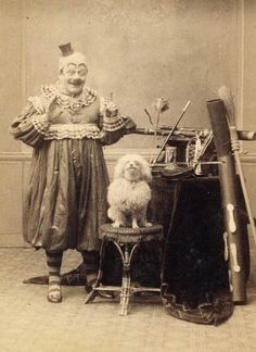 clown with his dog