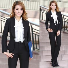 Spring 2013 Office Lady Suits With Pants Professional Career Suits Slim Fit Fashion Dress Suits For Business
