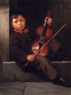 ~ John George Brown ~ American painter, The Boy Violinist Gypsy Men, Claudio Bravo, Little King, Music Express, Art Pictures, Photos, Victorian Art, Deviant Art, Art Music