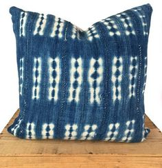 "18"" Vintage Indigo African Mud Cloth Pillow Shibori Bar Pattern Mudcloth"