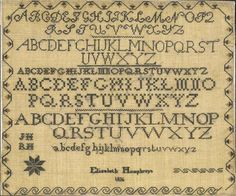 Quaker Sampler by Elizabeth Humphreys, probably Delaware Valley, dated 1836 Cross Stitch Samplers, Cross Stitching, Delaware Valley, Embroidery Sampler, Abcs, Sewing Notions, Crossstitch, Love Letters, Needlepoint