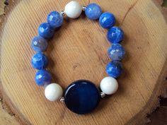 362f9395809f  15 Pulsera de Agatas blancas y azules con acentos en plata   Blue and  White Agata