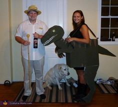 Cheryl: These costumes were inspired for our love of the movie Jurassic Park. I wanted to be a velociraptor and we thought it would be appropriate if my boyfriend Brad was...
