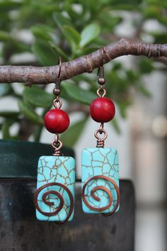 wire wrapped jewelry handmade, copper earrings, turquoise earrings, red earrings