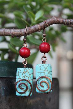 wire wrapped jewelry handmade, copper earrings, turquoise earrings, red earrings