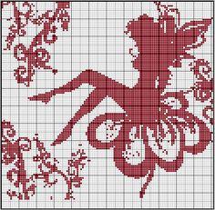 Fairy x-stitch pattern. Fantasy Cross Stitch, Cross Stitch Fairy, Cross Stitch Angels, Beaded Cross Stitch, Cross Stitch Embroidery, Embroidery Patterns, Filet Crochet Charts, Knitting Charts, Cross Stitch Designs