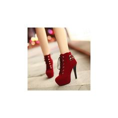 Buckled Lace-Up Platform Stiletto Boots (246.675 COP) ❤ liked on Polyvore featuring shoes, boots, ankle booties, sapatos, heels, red, ankle boots, footware, red ankle boots and high heels stilettos