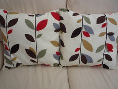Throw pillow cinnamon red brown black grey gray green cream leaf pattern Cushion covers shams UK designer fabric Two 18 x 18 inch handmade on Etsy, $50.00