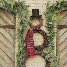 Snowman out of wreaths...