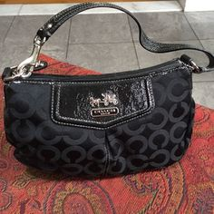 Coach black bag Black and patent leather. With coach logo pattern. Barely used. Good condition Coach Bags Mini Bags