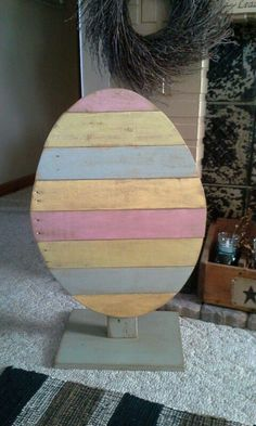 Pallet Easter Egg Recycle Repurpose Reuse Easter Spring With DIY Spring Pallet Crafts Ideas by Lee Hoom .Read More. Spring Projects, Easter Projects, Spring Crafts, Easter Crafts, Craft Projects, Easter Decor, Easter Ideas, Pallet Projects, Pallet Ideas