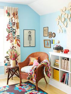 reading corner. Love the wall color and the overall feel of the room.