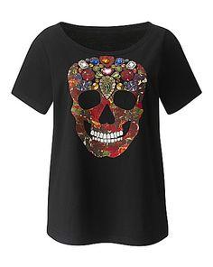 Embellished Skull T Shirt