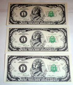 One Million Dollar Bills, Lot of 3 Bills, Look and Feel Real (1925) * This is an Amazon Affiliate link. Check out this great product.