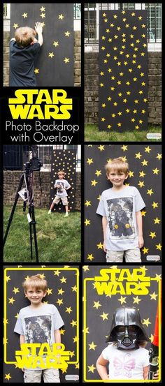 Star Wars Birthday Party Photo Backdrop with Free Photo Overlay. So many great Star Wars birthday party ideas at this site! Great for star wars fans - star wars The Force Awakens - free printables and decorating ideas for parties - Rogue One Star Wars Baby, Girls Star Wars Party, Star Wars Party Food, Star Wars Party Decorations, Star Wars Party Favors, Star Wars Kids, Birthday Decorations, 6th Birthday Parties, Birthday Diy