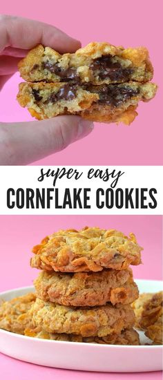 Thick and Chewy Cornflake Cookies - buttery cookie dough loaded with chocolate chips, rolled in crunchy Cornflakes and baked until golden and crisp. Biscuit Cookies, Biscuit Recipe, Cookie Dough, Biscuits, Buttery Cookies, Crunchy Cookies Recipe, Ginger Cookies, Tasty Kitchen, Cooking Recipes