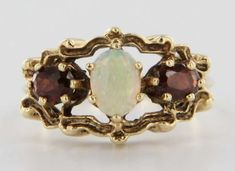Vintage 14 Karat Yellow Gold Opal Garnet Cocktail Ring Fine Estate Jewelry Pre-Owned