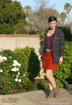 Fall Preview: Geometric -- Thrifted wool coat & suede skirt with tank top & booties for a summer to fall transitional look | Delightfully Kristi #ThriftStyleThursday