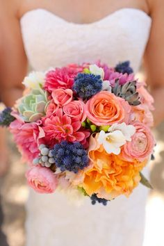 Summer Wedding bridal bouquet,pink peach yellow blue wedding - Repinned by City Line Florist #TrumbullWedding